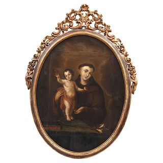 SAN ANTONIO DE PADUA CON EL NIÑO, Mexico, Late 18th century, Oil on canvas with carved and gilded wooden frame.