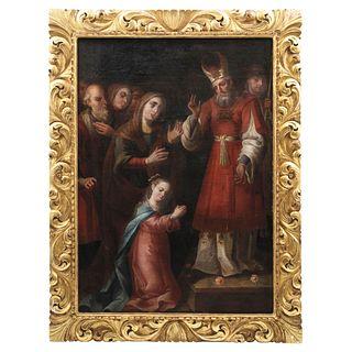 PRESENTACIÓN DE LA VIRGEN EN EL TEMPLO, Mexico, Early 19th century, Oil on canvas with carved and gilded wooden frame.
