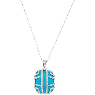 CHOKER AND PENDANT WITH TURQUOISE AND DIAMONDS. PLATINUM AND 18K WHITE GOLD. DI MODOLO  FAVOLA COLLECTION