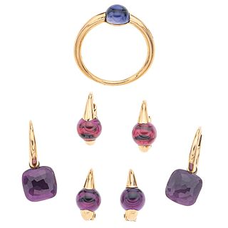 RING AND THREE PAIR OF EARRINGS WITH IOLITE, AMETHYST AND GARNET. 18K YELLOW GOLD. POMELLATO M'AMA NON M'AMA AND NUDO COLLECTIONS