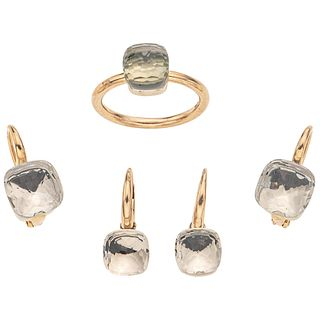 RING AND TWO PAIRS OF EARRINGS WITH PRASIOLITE AND TOPAZ . 18K YELLOW GOLD. POMELLATO NUDO COLLECTION