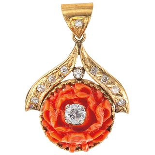 CORAL AND DIAMONDS PENDANT. 14K YELLOW GOLD
