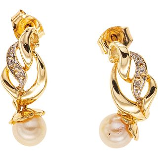 CULTURED PEARLS AND DIAMONDS EARRINGS. 14K YELLOW GOLD