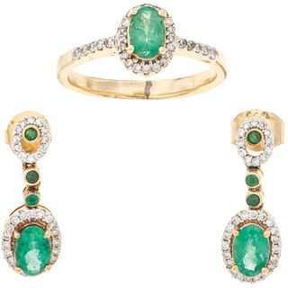 RING AND EARRINGS SET WITH EMERALDS AND DIAMONDS. 14K YELLOW GOLD