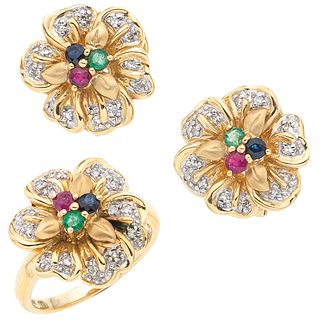 RING AND EARRINGS SET WITH EMERALDS, RUBIES, SAPPHIRES AND DIAMONDS . 14K YELLOW GOLD