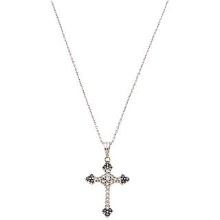 CHOKER AND CROSS WITH DIAMONDS. 14K AND 18K  WHITE GOLD