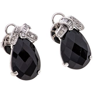 ONYX AND DIAMONDS EARRINGS. 14K  WHITE GOLD