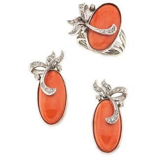 RING AND EARRINGS SET WITH CORALS AND DIAMONDS. PALLADIUM SILVER