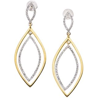 DIAMONDS EARRINGS. 14K WHITE AND YELLOW GOLD