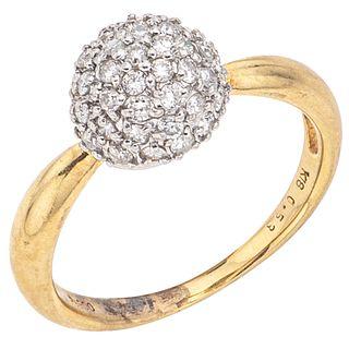 DIAMONDS RING. 18K YELLOW GOLD AND PLATINUM
