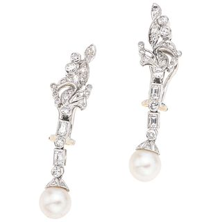 CULTURED PEARLS AND DIAMONDS EARRINGS. PALLADIUM SILVER AND 14K WHITE GOLD