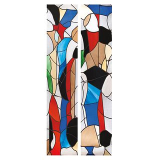 "LUIS LÓPEZ LOZA, Untitled, Signed and dated, 1989, Stained glass windows in manner of doors, wooden frame, 91.3 x 27.5 x 2.5"" (232 x 70 x 6.5cm) each,"