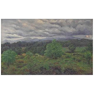 "NICOLÁS MORENO, Paisaje, Signed and dated 1963, Oil on canvas, 31.4 x 51.1"" (80 x 130 cm), Certificate"