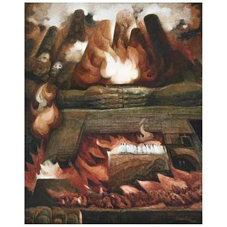 "DANIEL PONCE MONTUY, Los impolutos, Signed and dated 983, Oil on wood, 29.7 x 23.6"" (75.5 x 60 cm)"