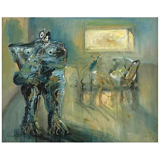 "JAZZAMOART, Interior con Bebopera II, Signed and dated 87 on front, Signed and dated Méx 87 on back, Oil on canvas, 31.4 x 39.2"" (80 x 99.8 cm)"