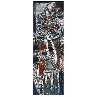"JAZZAMOART, Nocturno de Ornette, a) Signed and dated Méx 83 on back, b) Signed on front, Oil/canvas, 88.9 x 37"" (226 x 94 cm) overall, Pieces:2"