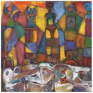 "VÍCTOR CHA'CA, Untitled, Signed, Oil on canvas, 55.1 x 55.1"" (140 x 140 cm)"