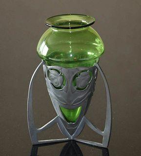 Liberty & Co Tudric Pewter & Glass Vase c1905