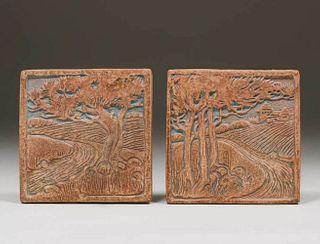 Two Batchelder - Los Angles Scenic Tiles c1915