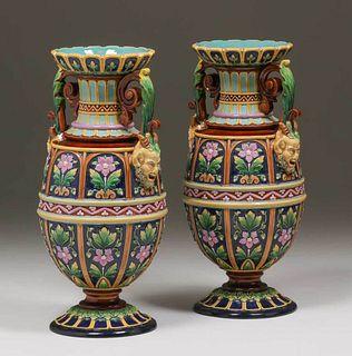 Wilhelm Schiller & Sons Majolica Vases
