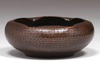 Roycroft Hammered Copper Ruffled Rim Bowl c1920s