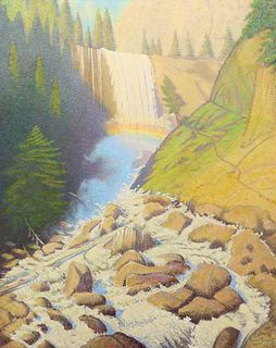 Ferdinand Burgdorff Painting Vernal Falls, Yosemite