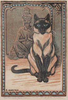 Elizabeth Norton Woodblock Siamese Cat c1930s