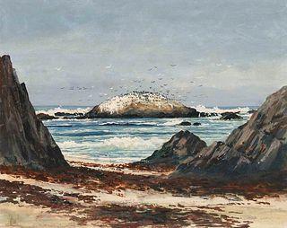 Edward Langley California Coastal Watercolor 1945