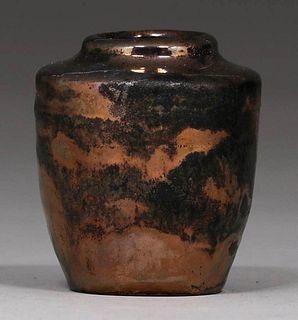 Pewabic Pottery Cabinet Vase Metallic Bronze Glaze