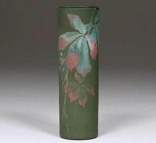 "Radford Pottery ""Thera"" Matte Green Cylinder Vase"