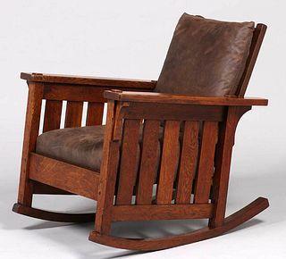 Lifetime Furniture Co Slatted Morris Rocker c1910