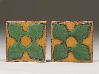 Pair Small Grueby Tiles c1910