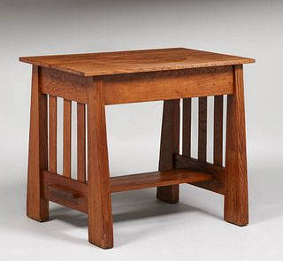 Arts & Crafts Slatted Library Table c1915