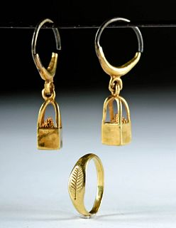 Roman Gold Jewelry - Signet Ring + Pair of Earrings