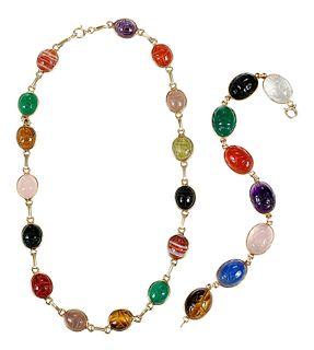 14kt. Scarab Necklace and Bracelet