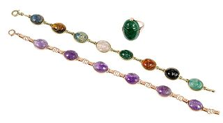 Three Pieces 14kt. Scarab Jewelry