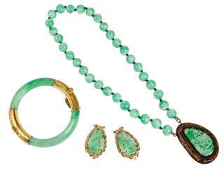 Three Pieces Green Hard Stone Jewelry