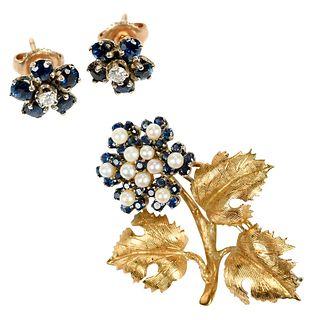 Gold Gemstone Flower Set