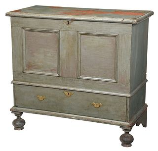 William and Mary Green Painted Chest with Drawer