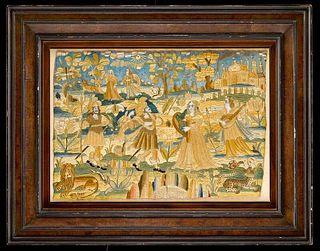 Charles II Silk and Linen Needlework