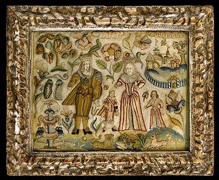 Fine Charles I Raised Silk and Lace Needlework