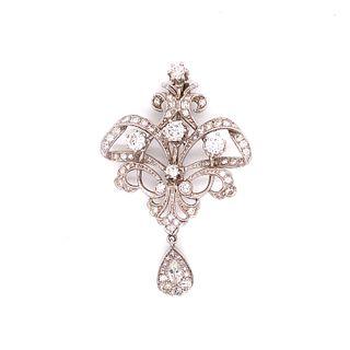 Diamond 18k White Gold Victorian Revival Brooch