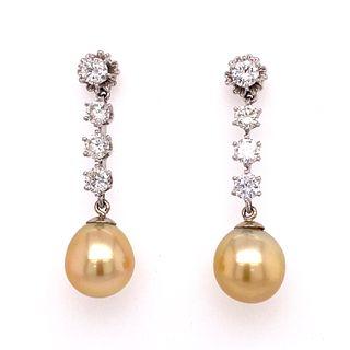 Diamond Champagne South Sea Cultured Pearl 14k Gold