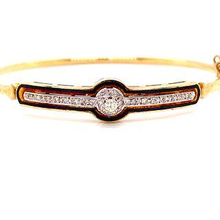 14k Diamond Enamel Bangle Bracelet