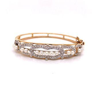 Pearl Diamond 14k Gold Bangle Bracelet
