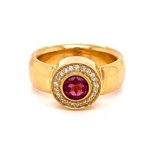 18k Diamond Pink Turquoise Diamond Ring