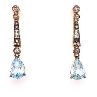 Silver & Gold Aqua Diamond EarringÊ