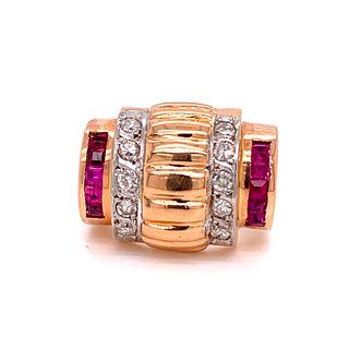 Retro 18k Diamond Ruby RingÊ