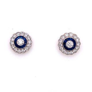 Platinum Diamond Sapphire EarringÊ