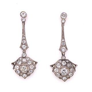 Platinum Diamond Long Drop EarringsÊ